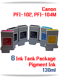 6 Ink Tanks Canon PFI-102, PFI-104