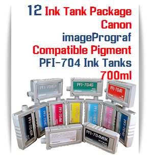 12  Tank Package - Canon PFI-704 imagePROGRAF iPF8300, iPF8300S, iPF9300 Compatible Printer Pigment Ink Tanks 700ml