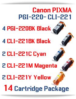 14- Includes: 4- PGI-220BK Black, 4- CLI-221BK Black, 2- CLI-221C Cyan, 2- CLI-221M Magenta, 2- CLI-221Y Yellow Compatible Canon Pixma printer ink cartridges