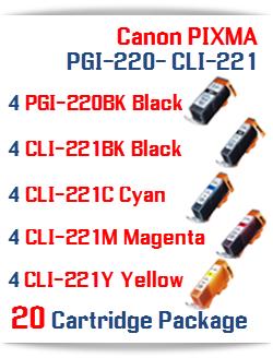20- Includes: 4- PGI-220BK Black, 4- CLI-221BK Black, 4- CLI-221C Cyan, 4- CLI-221M Magenta, 4- CLI-221Y Yellow Compatible Canon Pixma printer ink cartridges