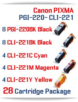 28- Includes: 8- PGI-220BK Black, 8- CLI-221BK Black, 4- CLI-221C Cyan, 4- CLI-221M Magenta, 4- CLI-221Y Yellow Compatible Canon Pixma printer ink cartridges