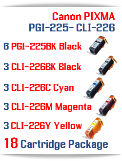18 Cartridge Package Includes: 6- PGI-225BK Black, 3- CLI-226BK Black, 3- CLI-226C Cyan, 3- CLI-226M Magenta, 3- CLI-226Y Yellow Compatible Canon Pixma printer ink cartridges
