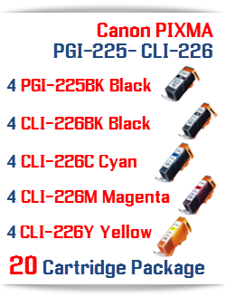 20 Cartridge Package Includes: 4- PGI-225BK Black, 4- CLI-226BK Black, 4- CLI-226C Cyan, 4- CLI-226M Magenta, 4- CLI-226Y Yellow Compatible Canon Pixma printer ink cartridges