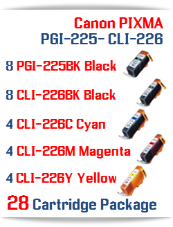 28 Cartridge Package Includes: 8- PGI-225BK Black, 8- CLI-226BK Black, 4- CLI-226C Cyan, 4- CLI-226M Magenta, 4- CLI-226Y Yellow Compatible Canon Pixma printer ink cartridges