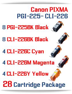 28 Cartridge Package Includes: 8- PGI-225BK Black, 8- CLI-226BK Black, 4- CLI-226C Cyan, 4- CLI-226M Magenta, 4- CLI-226Y Yellow Compatible Canon Pixma printer ink cartridges