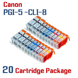 Includes: 4- PGI-5BK Black, 4- CLI-8BK Black, 4- CLI-8C Cyan, 4- CLI-8M Magenta, 4- CLI-8Y Yellow Compatible Canon Pixma printer ink cartridges