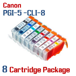 8 Cartridge Package - PGI-5 - CLI-8 Compatible Canon Pixma Ink Cartridges