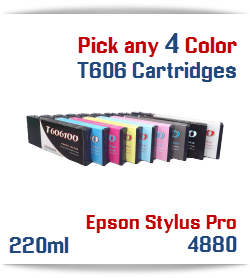 Pick 4 Epson Stylus Pro 4880 Cartridges