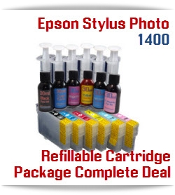 6 Refillable Cartridge Package with ink - Epson Stylus Photo 1400 Compatible printer ink cartridges