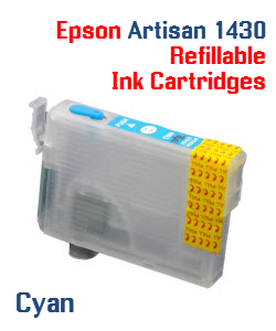 Cyan Epson Artisan 1430 Refillable printer ink cartridges