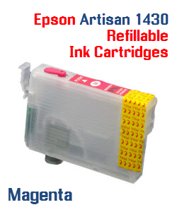 Magenta Epson Artisan 1430 Refillable printer ink cartridges