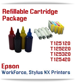 4 Refillable Cartridge Plus Ink Package
