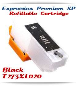 Refillable T273XL020 Black Epson Expression Premium XP Printer ink cartridge