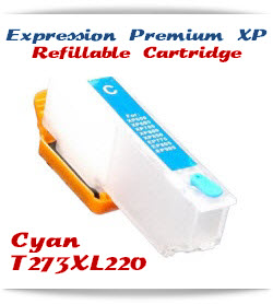 Refillable T273XL220 Cyan Epson Expression Premium XP Printer ink cartridge