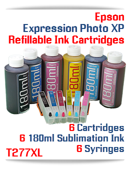 Epson Expression Photo XP Refillable Sublimation Ink 180ml Package