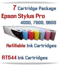 7 Refillable Cartridges Epson Stylus Pro 7600, 9600