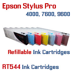 Refillable Epson Stylus Pro 4000, 7600, 9600 printer ink cartridges 300ml