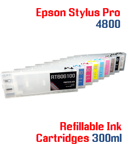Refillable Epson Stylus Pro 4800 compatible ink cartridges 300ml
