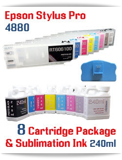 8 -Cartridge Package Includes: 8 Refillable Cartridges, 8 bottles of Sublimation ink 240ml each color - 1-Photo Black, 1-Cyan, 1-Yellow, 1-Light Cyan, 1-Light Black, 1-Light Light Black, 1-Magenta, 1-Light Magenta, 8 Funnels, 1 Chip Re-Setter