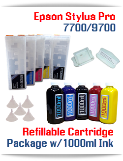 5 Refillable Cartridges, 5 1000ml bottles, 5 Colors Refill Ink Epson Stylus Pro 7700/9700 printers