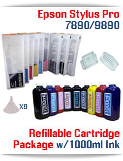 9 Refillable Cartridges, 9 1000ml bottles, 9 Colors Refill Ink Epson Stylus Pro 7890/9890 printers
