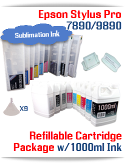 Epson Stylus Pro 7890, 9890 9 Cartridges with 9 1000ml bottles of Sublimation ink , Chip Re-Setter, 9 funnels