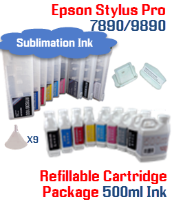 Epson Stylus Pro 7890, 9890 9 Cartridges with 9 500ml bottles of Sublimation ink , Chip Re-Setter, 9 funnels