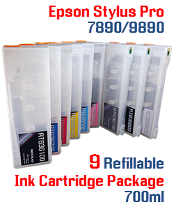 9 cartridge package Epson Stylus Pro 7890/9890 Refillable Ink Cartridges