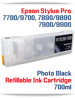 Photo Black Epson Stylus Pro 7890/9890 Refillable Ink Cartridge