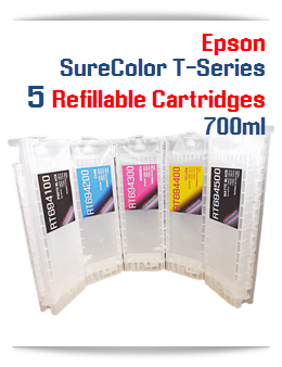 5 Refillable Cartridges Epson SureColor T-Series 700ml