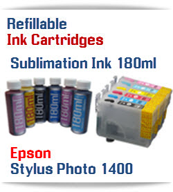 6 Refillable Cartridge Package with 180ml each color Sublimation ink - Epson Stylus Photo 1400 Compatible printer ink cartridges