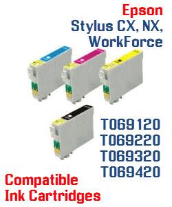 T069 Epson Stylus CX, Stylus NX, WorkForce Compatible Printer Ink Cartridges