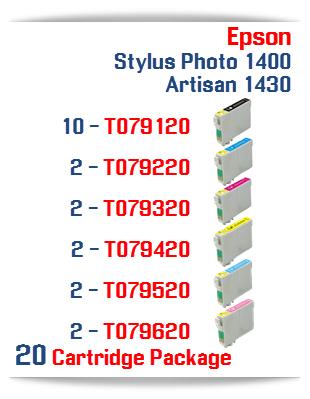20 Cartridge Package Epson Artisan 1430, Stylus Photo 1400 Cartridges