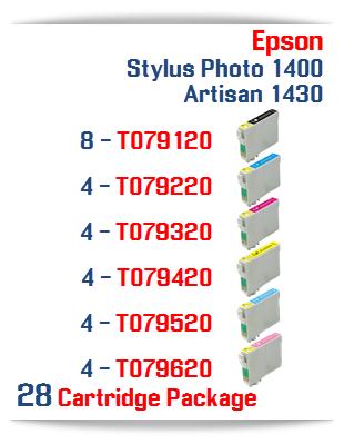 28 Cartridge Package Epson Artisan 1430, Stylus Photo 1400 Cartridges