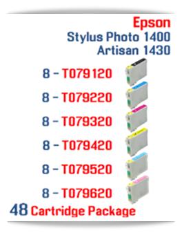 48 Cartridge Package Epson Artisan 1430, Stylus Photo 1400 Cartridges