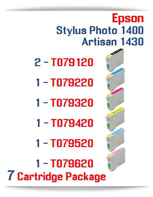 7 Cartridge Package Epson Artisan 1430, Stylus Photo 1400 Cartridges