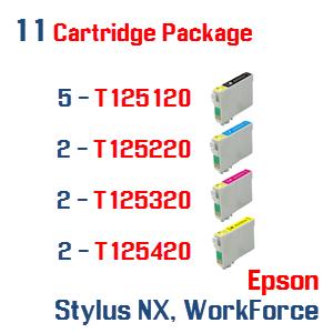 11 Cartridge Package T125 Series Epson Stylus NX, WorkForce Compatible Ink Cartridges