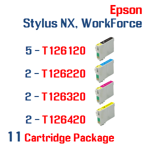 11 Cartridge Package T126 Epson Stylus NX, WorkForce Compatible Ink Cartridges