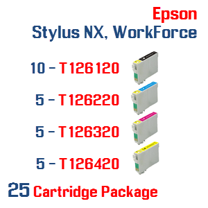 25 Cartridge Package T126 Epson Stylus NX, WorkForce Compatible Ink Cartridges