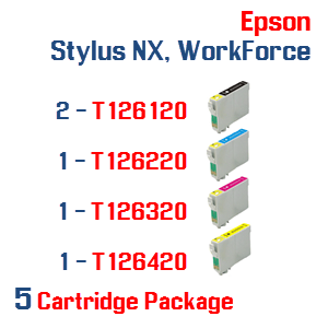 5 Cartridge Package T126 Epson Stylus NX, WorkForce Compatible Ink Cartridges