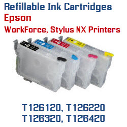 Refillable Ink Cartridges Epson WorkForce, Stylus NX Printers