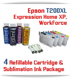 Epson Expression XP 4 Cartridges and 4 Sublimation Ink 180ml Package