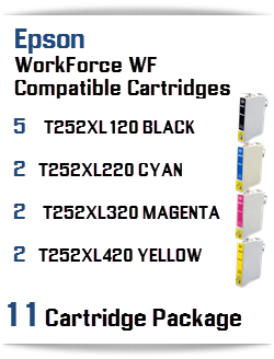 11 Cartridge Package T252XL Epson WorkForce WF Compatible Ink Cartridges