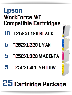 25 Cartridge Package T252XL Epson WorkForce WF Compatible Ink Cartridges