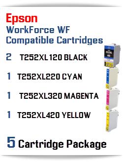 5 Cartridge Package T252XL Epson WorkForce WF Compatible Ink Cartridges