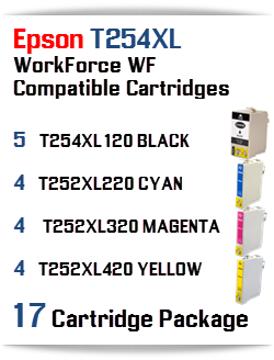 17 Cartridge Package T254XL Epson WorkForce WF Compatible Ink Cartridges