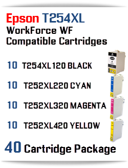 40 Cartridge Package T254XL Epson WorkForce WF Compatible Ink Cartridges