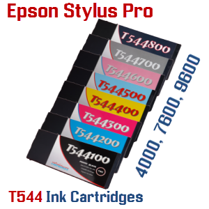 T544 Epson Stylus Pro 4000, 7600, 9600 Compible Pigment Ink Cartridges
