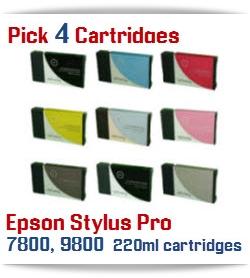 Pick 4 Epson Stylus Pro 7800, 9800 Compatible Ink Cartridges