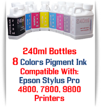8 Bottles 240ml Compatible Pigment Ink Epson Stylus Pro 4800, 7800, 9800 printers